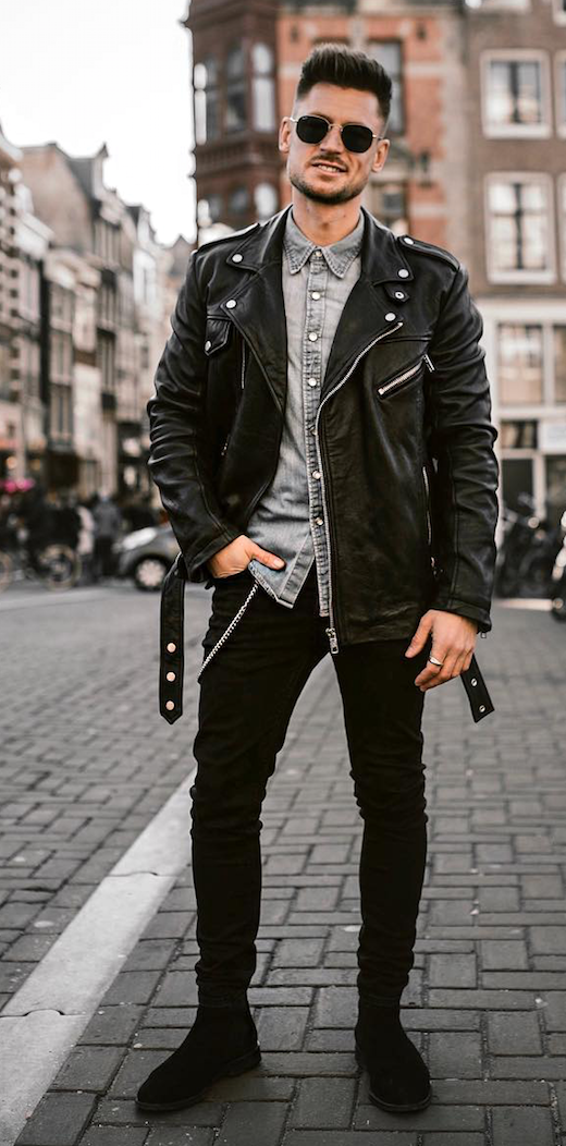 Looks All Men With a Bad Boy Spirit Should Try Out. Street edgy Bad boy  outfits with chains ripped jeans c6c855ca019