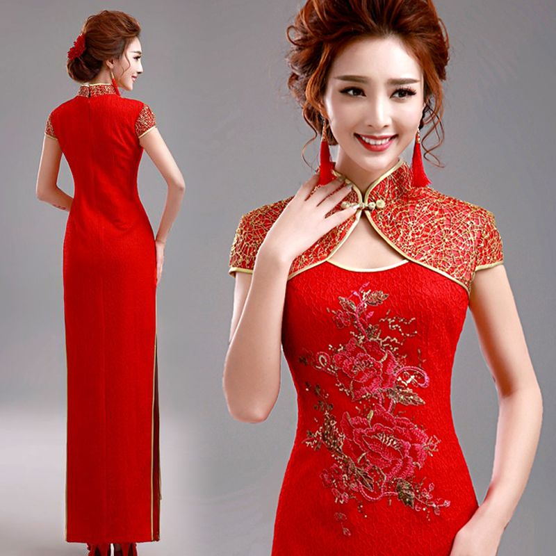 Shop elegant silk cheongsam, traditional Chinese red bridal dresses ...
