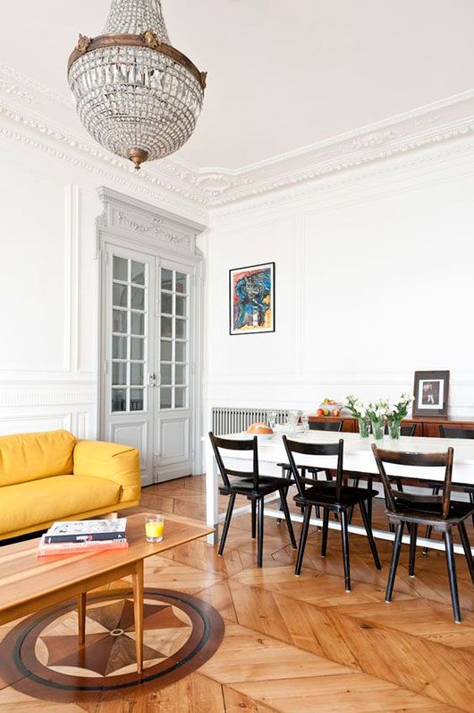 I love these chairs for the eat-in. paris penthouse with colorful ...