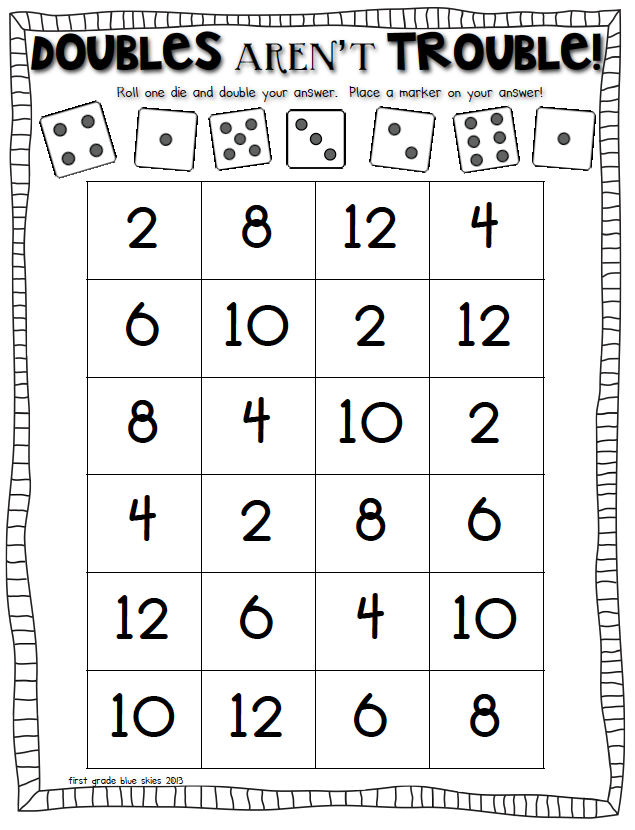 doubles game roll dice and cover the double math math doubles math facts second grade math. Black Bedroom Furniture Sets. Home Design Ideas