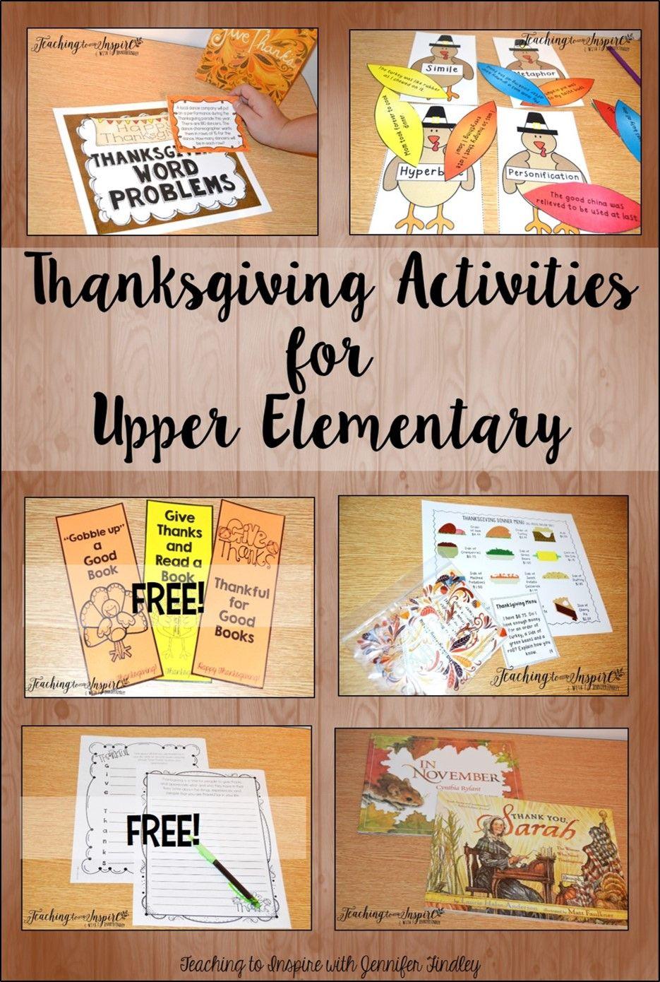 Classroom Activities Elementary ~ Thanksgiving activities for upper elementary