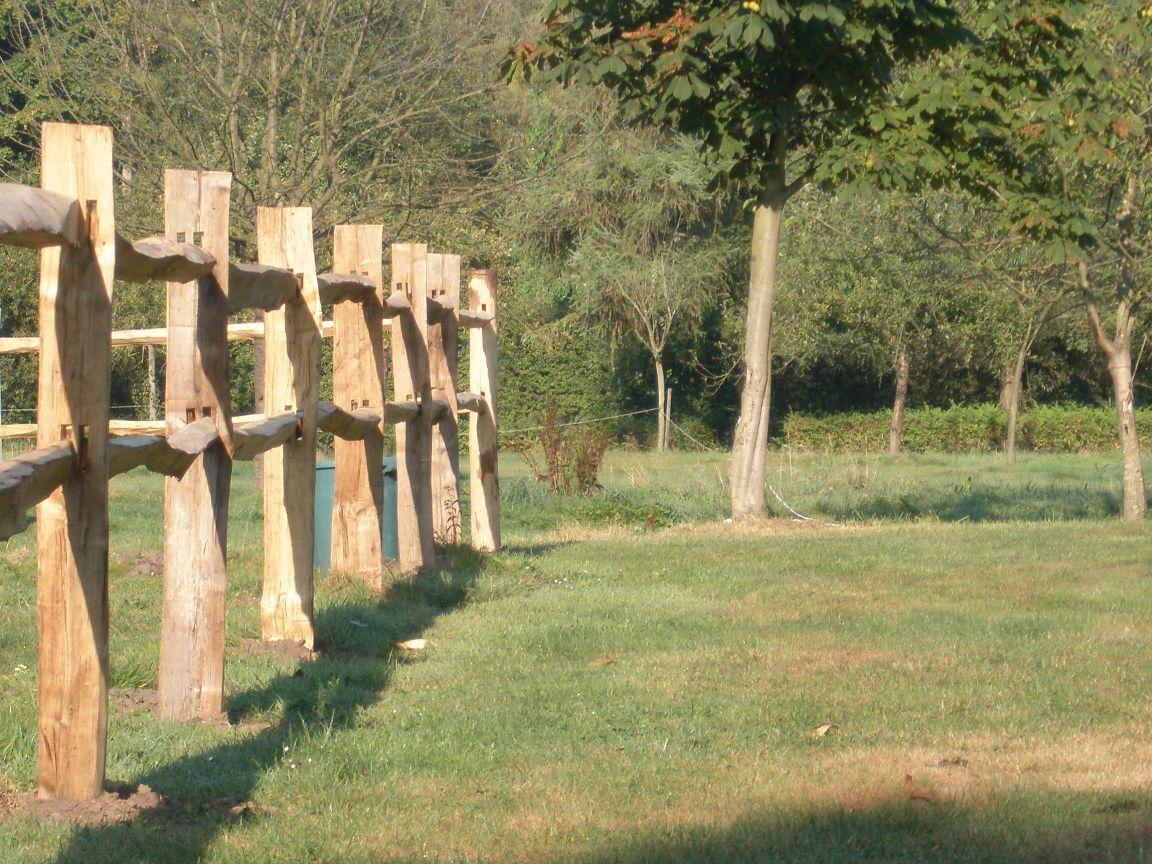 Kastanje Post and rail afsluiting, ook wel de ideale paarden afsluiting   Horse training