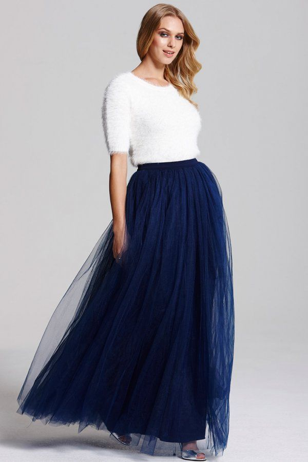 Little Mistress Navy Tulle Maxi Skirt. Want this!!!