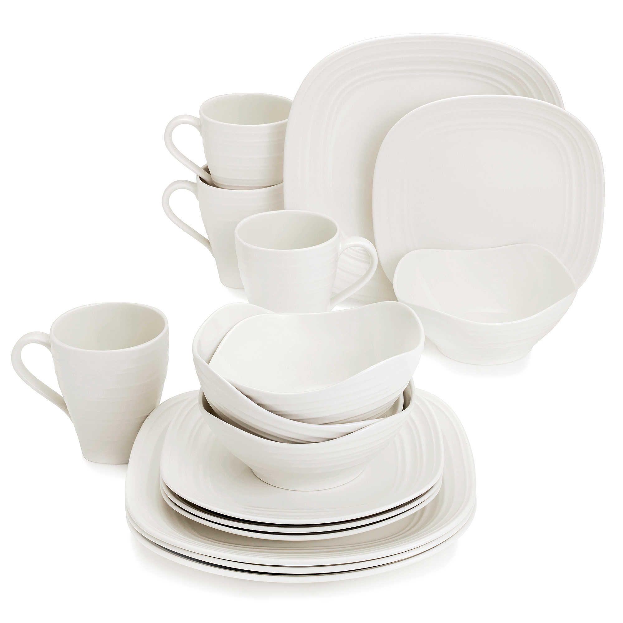 Mikasa® Swirl Square White 16-Piece Dinnerware Set  sc 1 st  Pinterest & Mikasa® Swirl Square White 16-Piece Dinnerware Set | Accessories ...