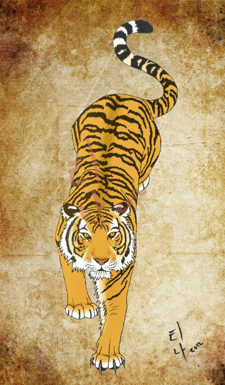 Korean Art   korean tiger tattoo by wolfvixyn traditional ...