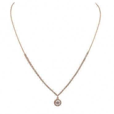 Κολιέ ροζ χρυσό Κ14 για καθημερινό ή επίσημο ντύσιμο, ιδανικό για δώρο αρραβώνα ως σετ με βραχιόλι και σκουλαρίκι | Κοσμήματα ΤΣΑΛΔΑΡΗΣ στο Χαλάνδρι