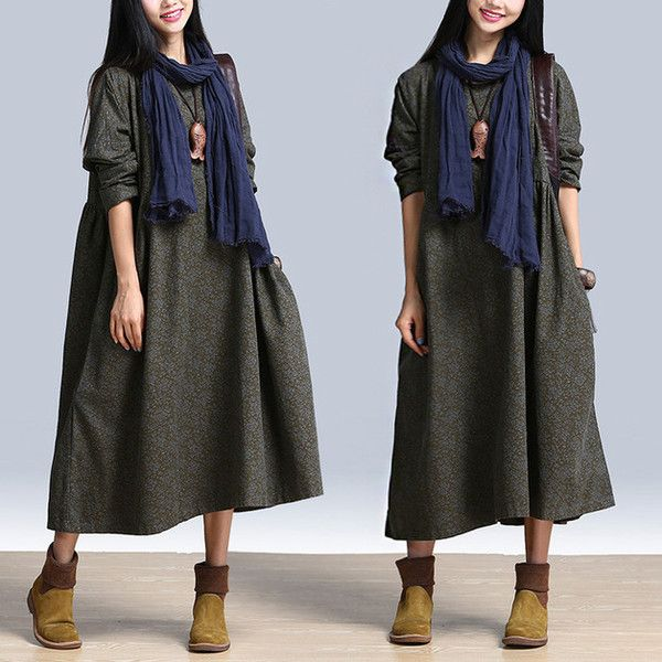 Women Autumn Floral Maxi Dress Long Sleeves Dress from GYFashionClothing by DaWanda.com
