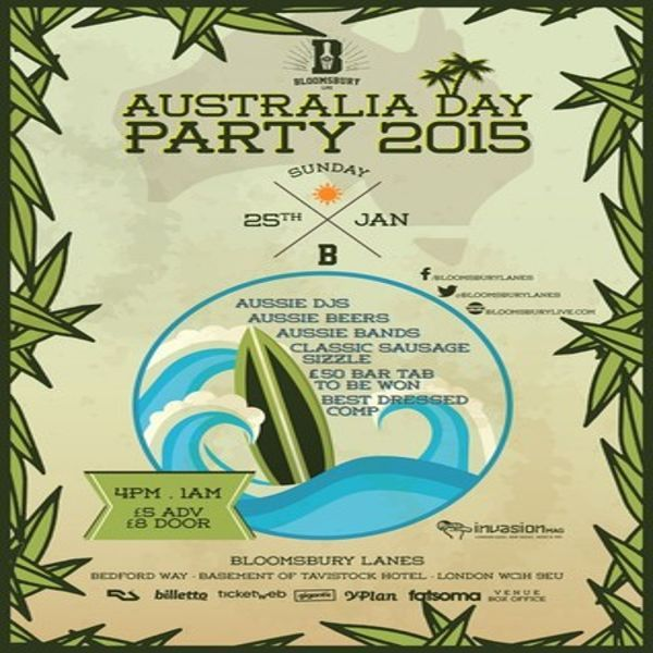 Australia Day Party at Bloomsbury Lanes, Basement of Travistock Hotel, Bedford Way, London, WC1H 9EU, UK on Jan 25,2015 to Jan 26,2015 at 4:00 pm to 1:00 am.  Come down for a boozy afternoon enjoying the finest Aussie food and bev, Coopers Pale Ale, Sausage Rolls, Lamingtons, and a classic Sausage Sizzle.  £50 bar tabs to be won. Best dressed competition.  URLs: Tickets: http://atnd.it/19175-1 Facebook: http://atnd.it/19175-2  Category: Nightlife,  Prices: Standard £5, Door £8