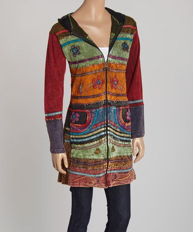 Another great find on #zulily! Plum & Green Embroidered Zip-Up Hoodie Duster #zulilyfinds