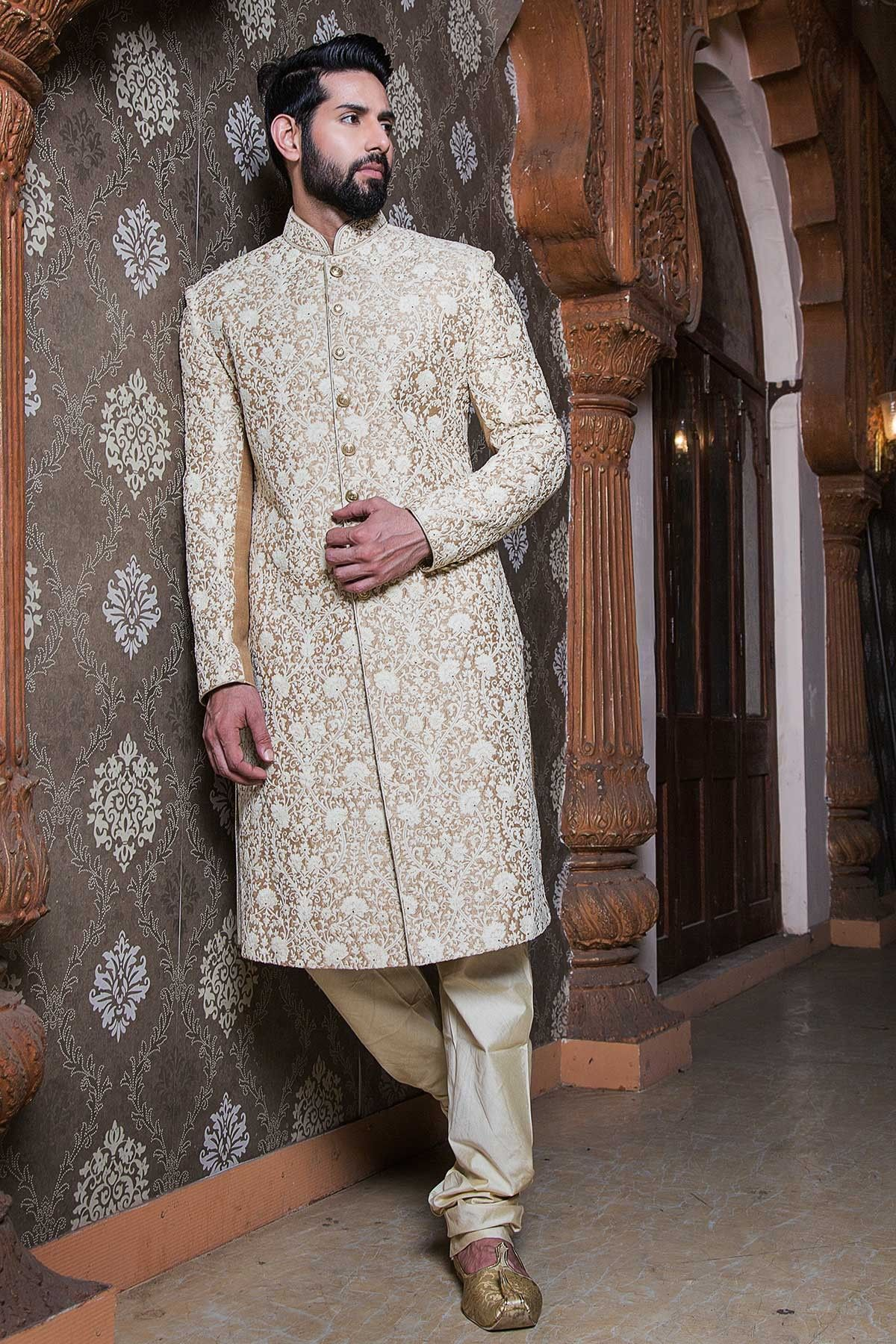 a7d68f966c Samyakk Offwhite Silk Embroidered Indowestern Sherwani | Men's ...