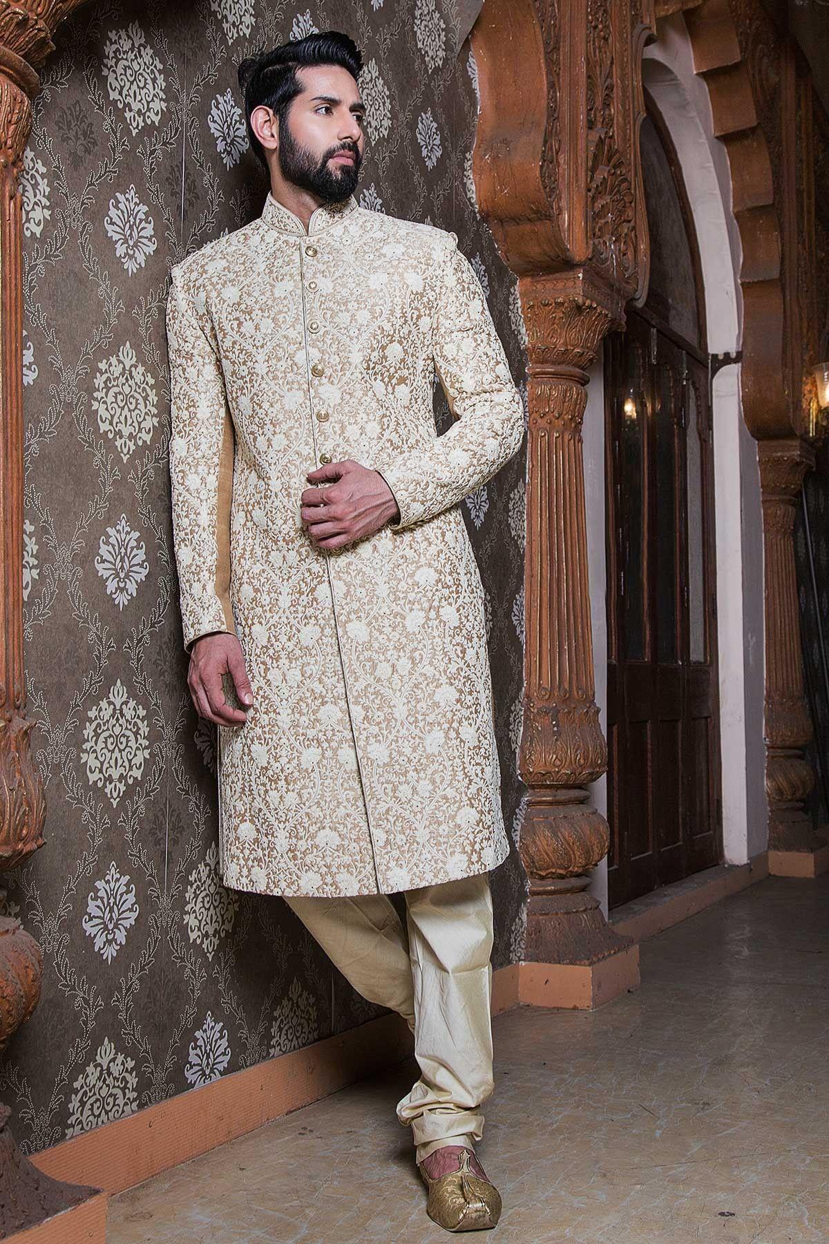 Samyakk offwhite silk embroidered indowestern sherwani for Indian wedding dresses men