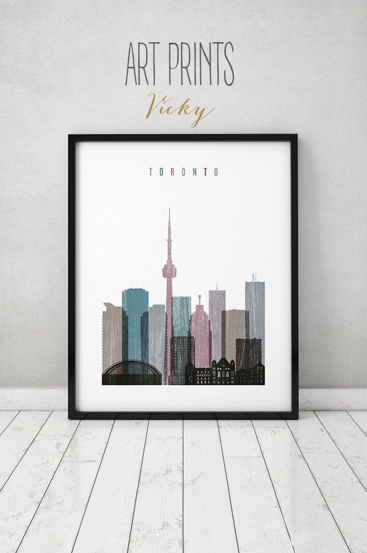 Toronto Print Poster Wall Art Skyline Distressed Canada Cityscape City Prints Home Decor Gift Artprintsvicky