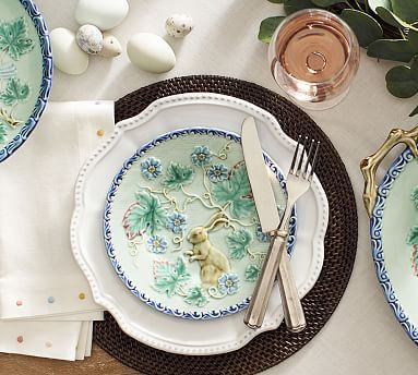 Majolica Bunny Salad Plate Set of 4 #potterybarn | Easter u0026 Spring | Pinterest | Salad plates Bunny and Salad : easter plates dinnerware - pezcame.com