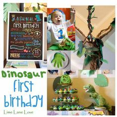 Dinosaur first birthday party with pterodactyl wings, tar pit fondue, butcher and construction paper jungle, fossil making zone with crayola model magic, dino egg hunt, smash cake egg with toy dino inside--SO FUN!!! @limelanelove.com