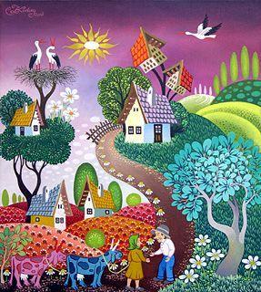 Hungary Laszlo Koday Naive Art Whimsical Art Art Painting