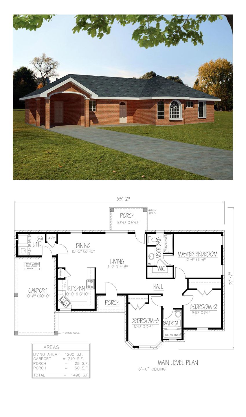 Southwest Style House Plan 71933 With 3 Bed 2 Bath 1 Car Garage Ranch Style House Plans Architectural House Plans Southwest House
