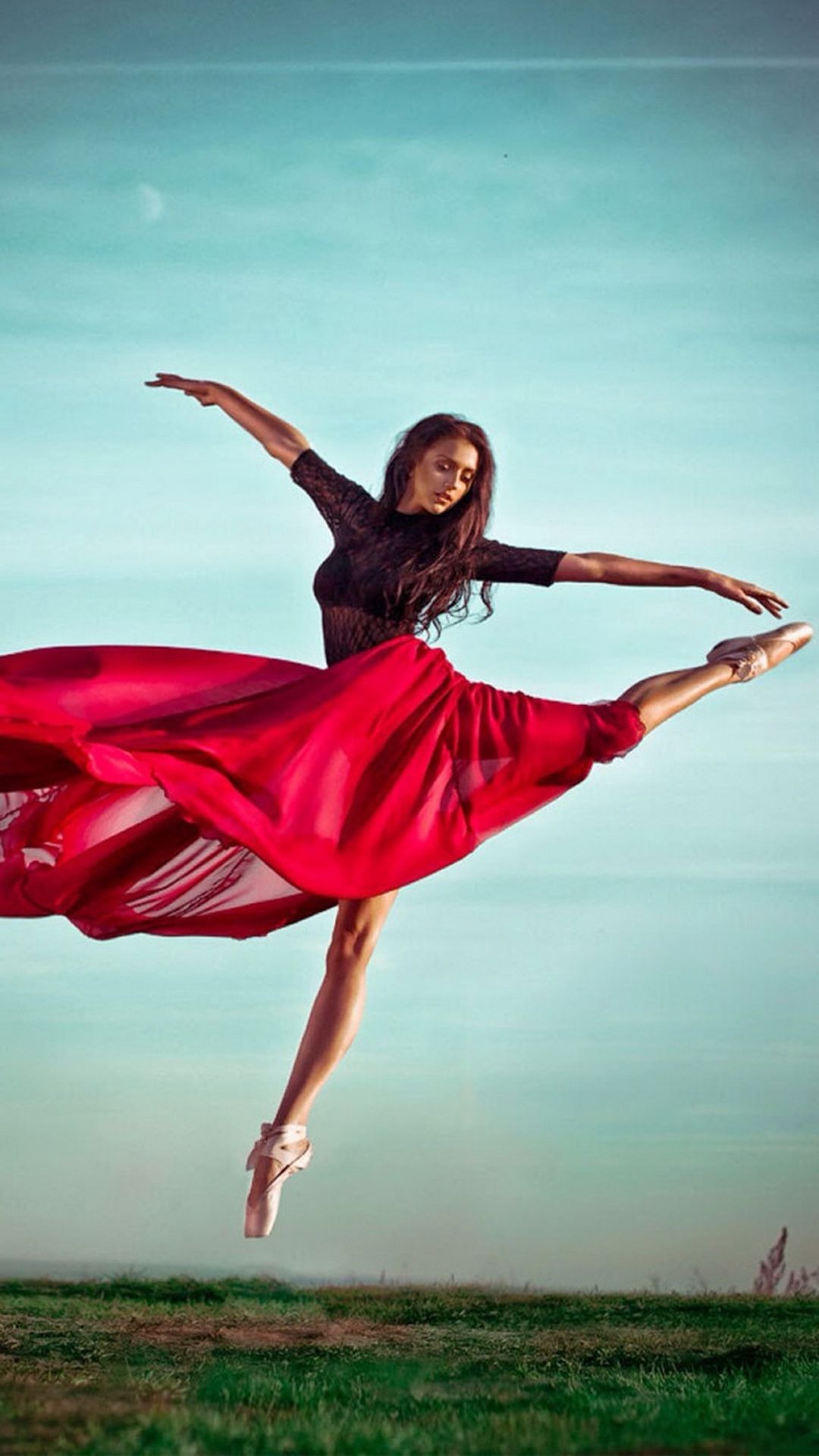 Ballet Dancer Red Dress iPhone 8 Wallpapers Ballet