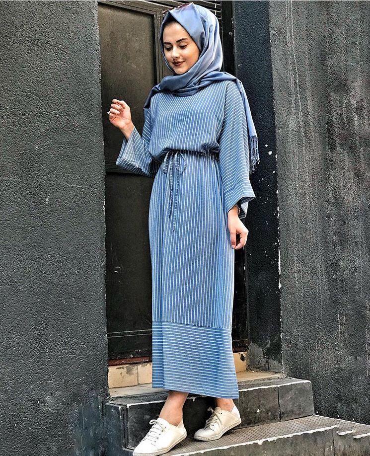 9bc238f777603 Genç Tesettür Çizgi desen spor elbise | Giyim | Giyim, Islami moda ...