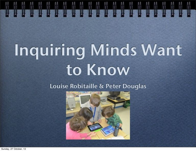 This is a great resource for teachers who are unfamiliar with inquiry- based learning to use. It breaks down each step of the inquiry process for the teachers, and different ways to use it in the classroom.