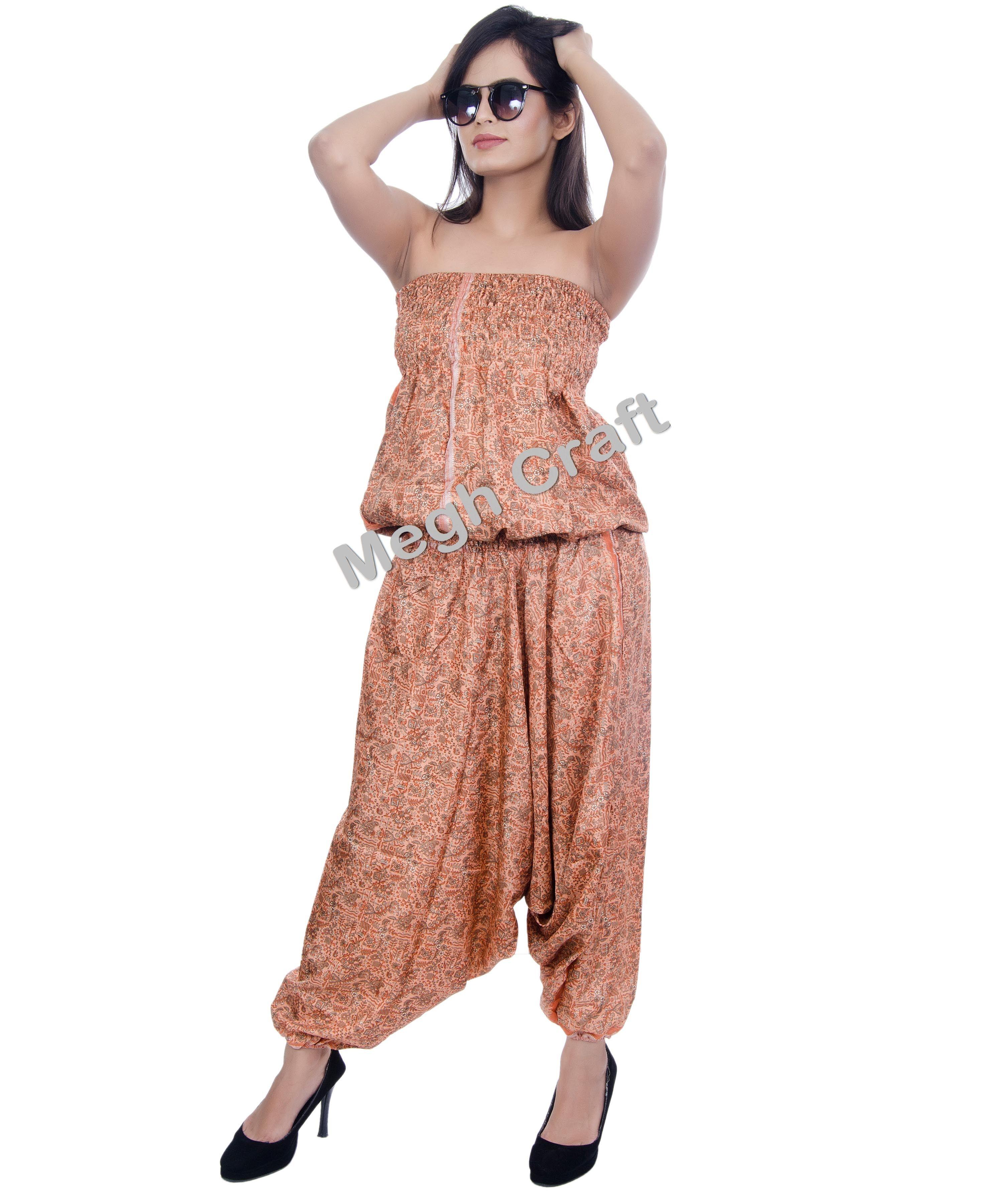 115d2ac0749 Silk indo western Women-Floral-Waist-Harem Style-Pants-Jumpsuit-Casual- Jumpsuit