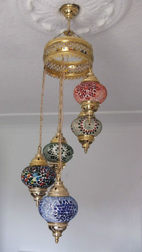 Turkish Ceiling Light Hand Made 5 Glass And Gold Moroccan Mosaic Glass Light Ceiling Lights Mosaic Glass Glass Lighting