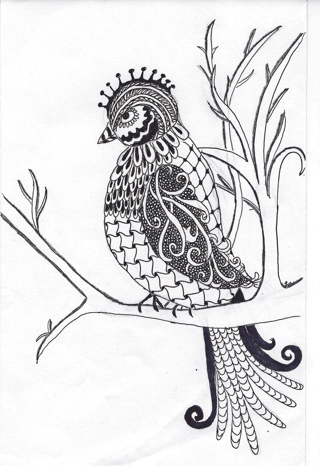 Pen Paper Happiness Birds Draw Zentangle Zendala
