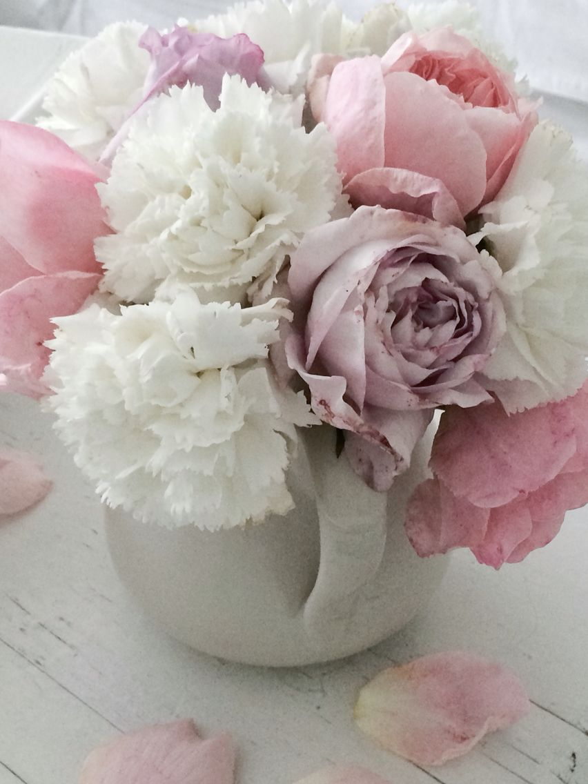 Pink Roses And White Carnations Pink Carnations Anniversary Flowers Baby Shower Flowers