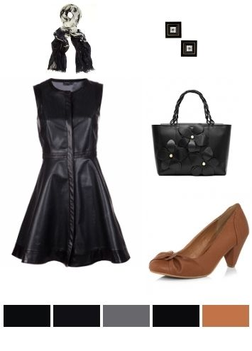 Little Black Flared dress paired with floral handbag, black & gold studs. #littleblackdress