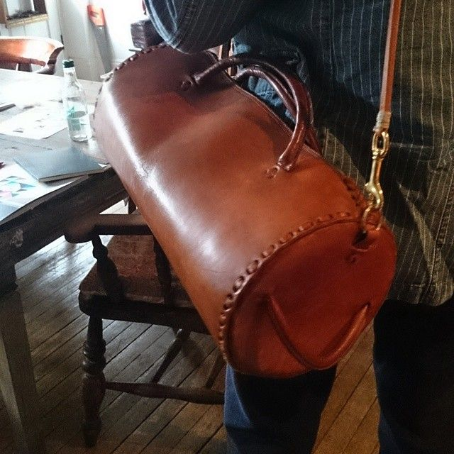 Vintage duffel bag / restored and repaired / new strap