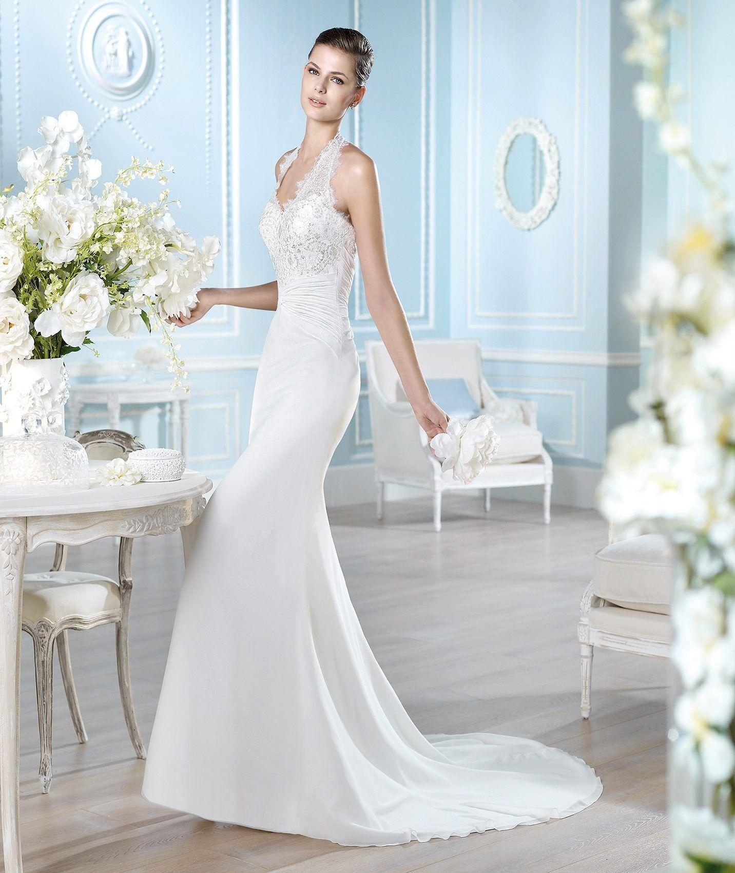 Elegant floorlength sheath vneck lace and chiffon wedding dress