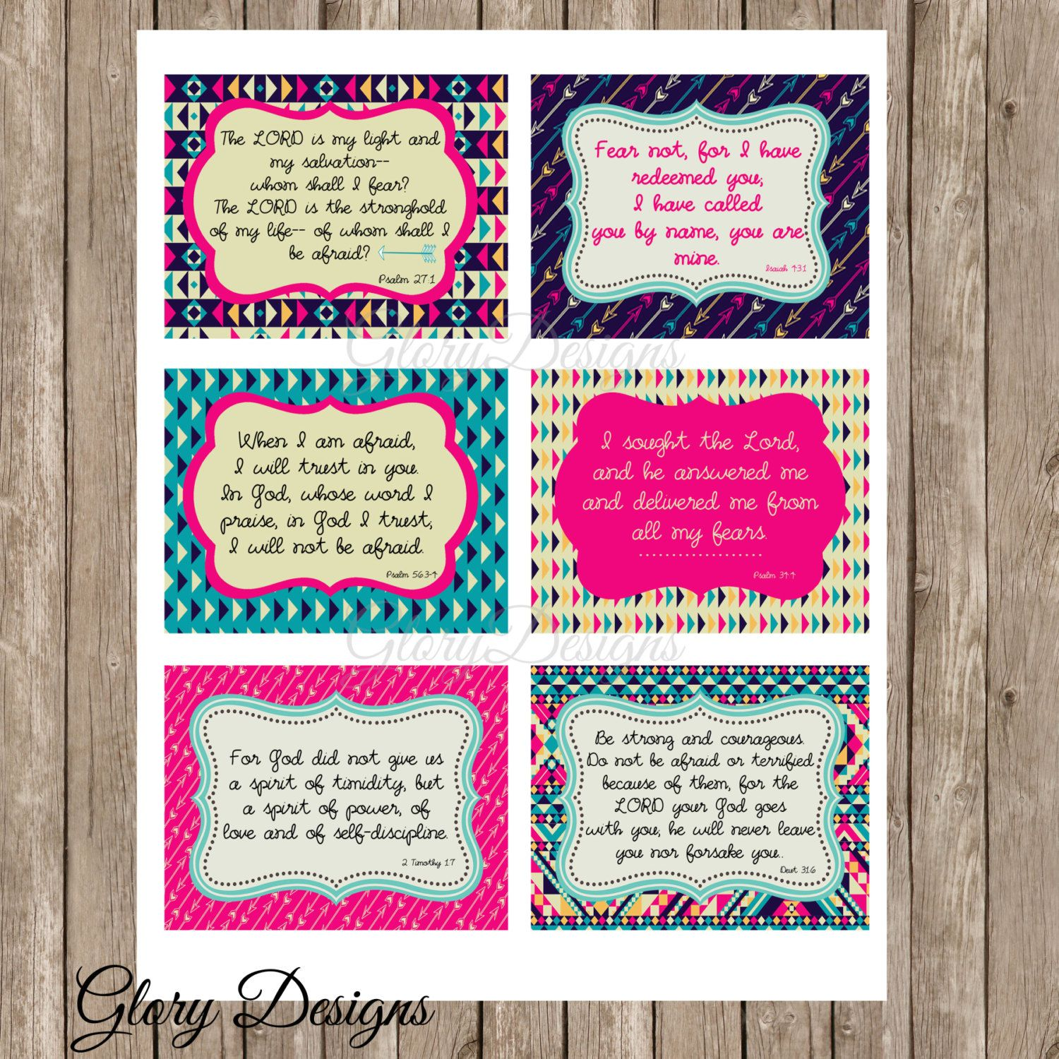 Printable Prayer Cards Fearless Printable Bible Verse