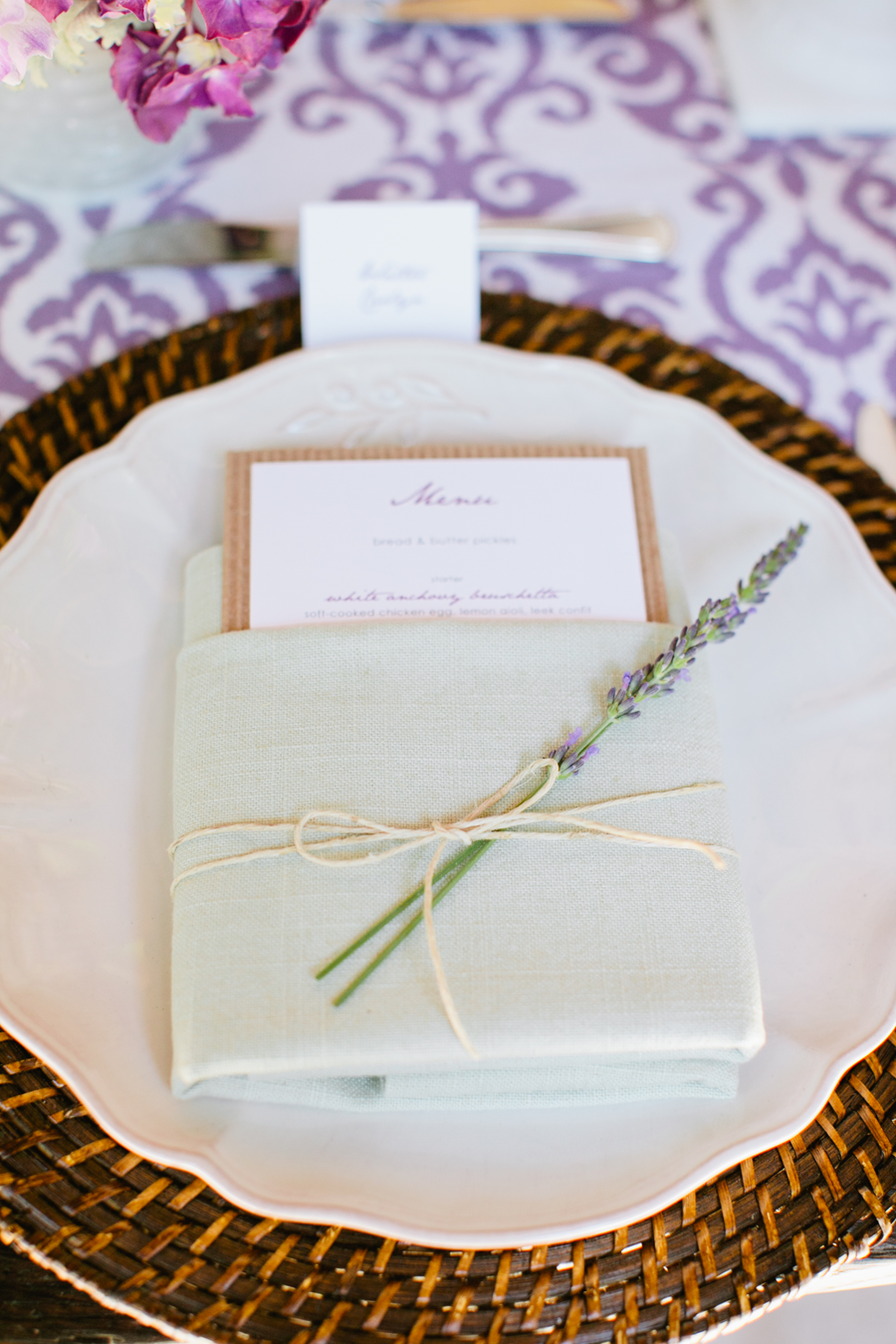 #place-settings, #lavender | Photography: Gladys Jem Photography - gladysjem.com Design + Planning: Charmed Events Group, LLC - charmedeventsplanning.com Floral Design: Poppy\'s Petalworks - poppyspetalworks.com | #LavenderWeddings