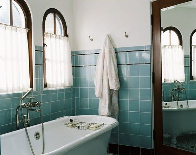 40 Retro Blue Bathroom Tile Ideas And Pictures Blue Bathroom Tile Dark Wood Trim Retro Bathrooms