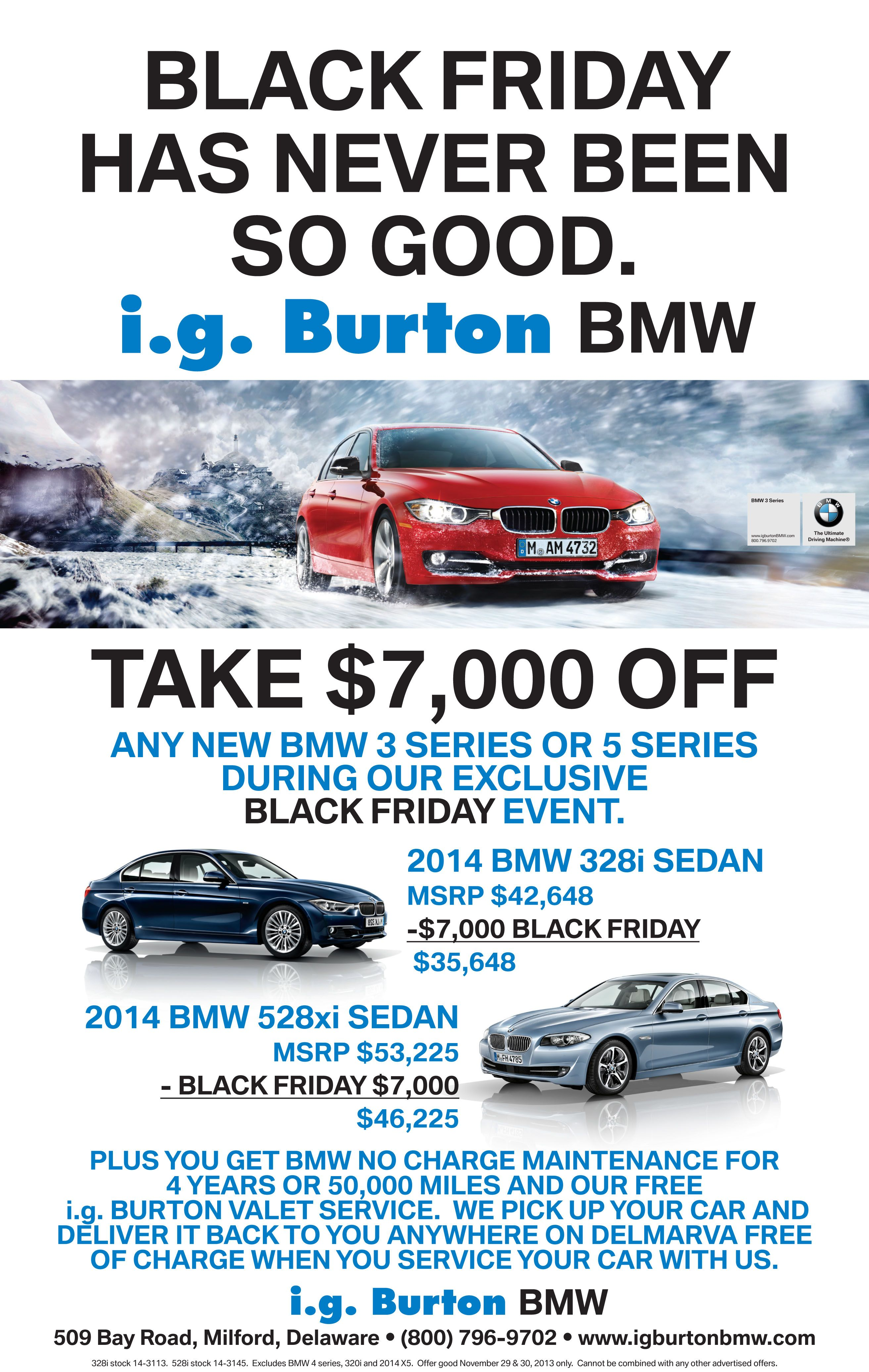 Ig Burton Bmw >> I G Burton Bmw Black Friday Event Call Or Stop In To Chat With One