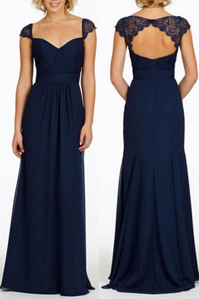 Navy Blue Long Open Back Cap Sleeve Chiffon Bridesmaid Dress N08 Navy Blue Bridesmaid Dresses Navy Bridesmaid Dresses Long Navy Blue Bridesmaid Dresses