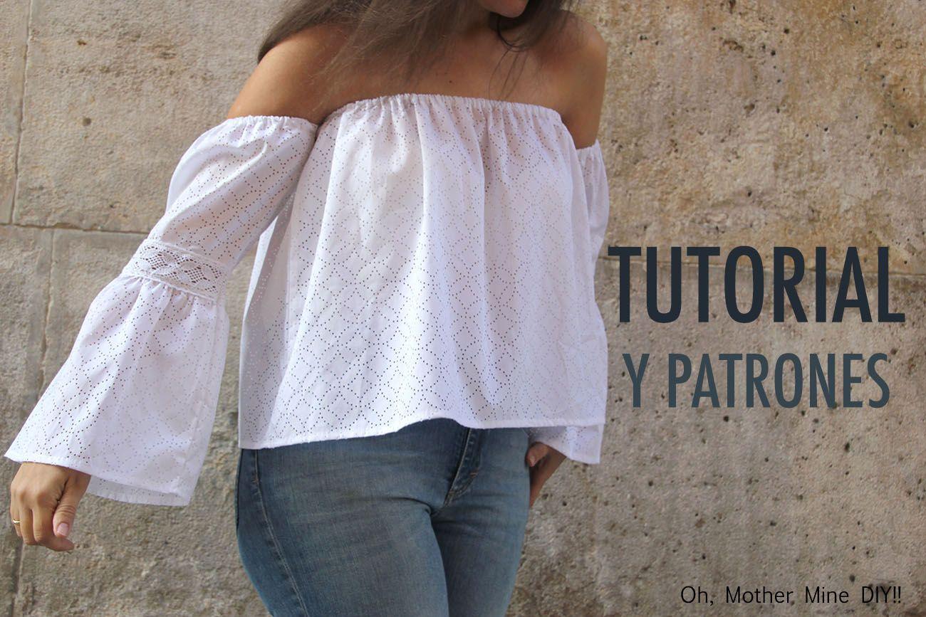 DIY Tutorial y patrones gratis Blusa Sin Hombros | C O S T U R A ...