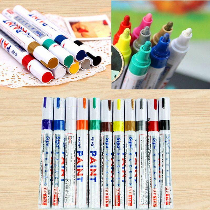 New Diy 12 Colors Set Waterproof Fine Paint Marker Pen Oil Based Art Glass Metal Waterproof Fine Paint Paint Marker Pen Pens Markers Paint Marker