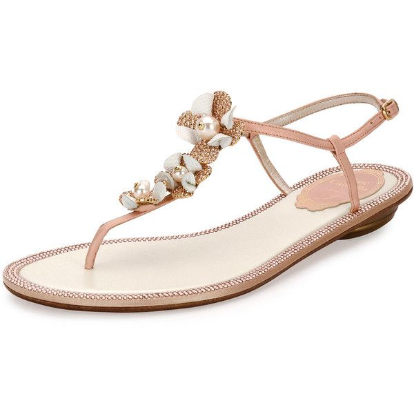 2e2db39b3e5d29 Rene Caovilla Floral-Embellished Crystal Thong Sandal (€890) ❤ liked on  Polyvore featuring shoes