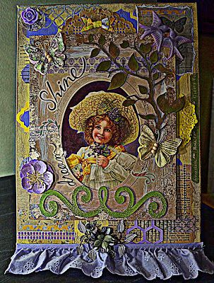 Canvas Board by KELLY DEAL Dreaming of Vintage featuring a little girl with violets :-) Lunagirl Moonbeams by Lunagirl Vintage Images: March Challenge: Spring Flowers & Birds