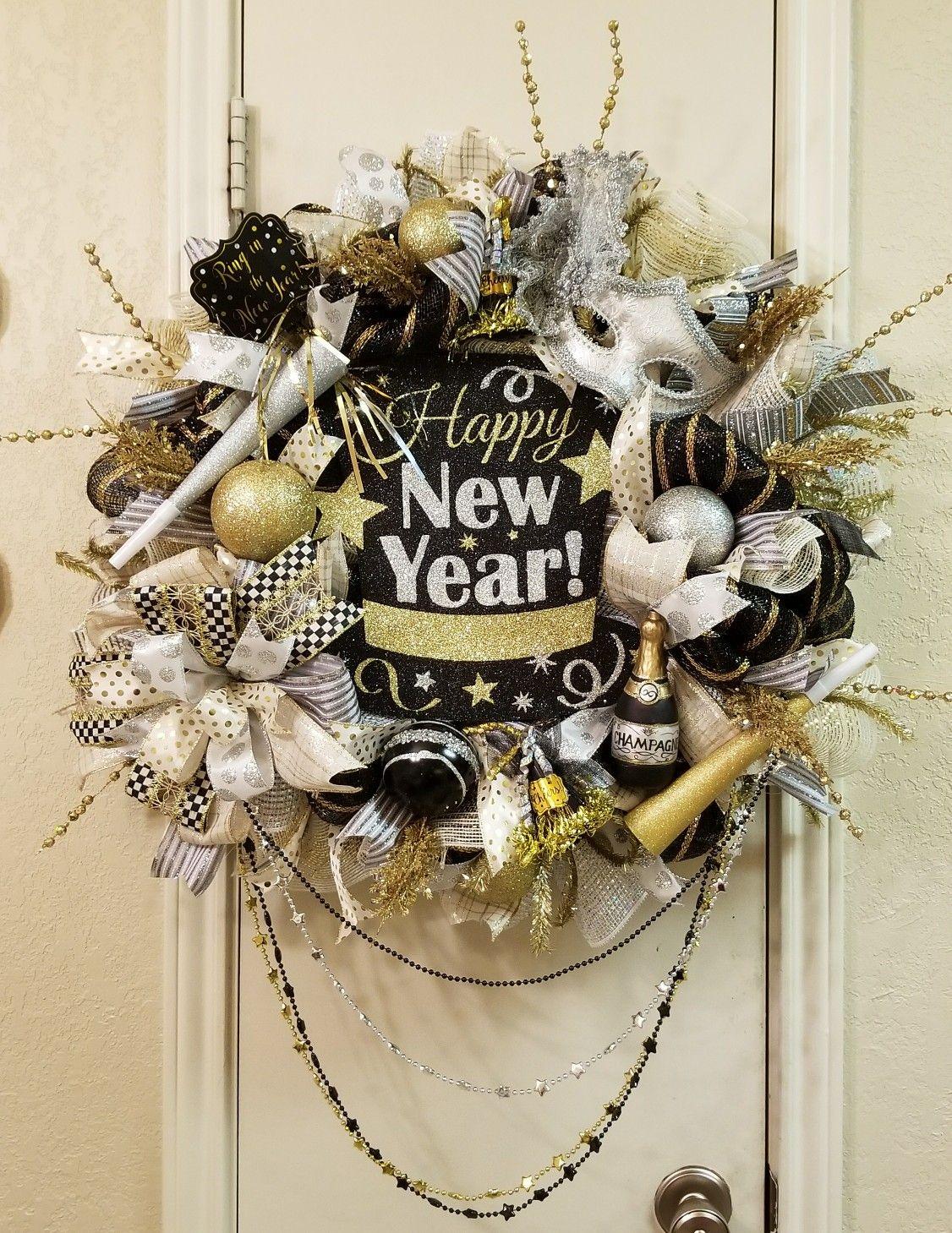 Happy New Year Deco Mesh Wreath | Winter decorations diy ...