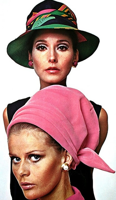 1af4068d2a8 Models Merle Lynn and Hellevi Keko wearing hats by Adolfo and Halston.  Vogue Pattern Book Winter 1967