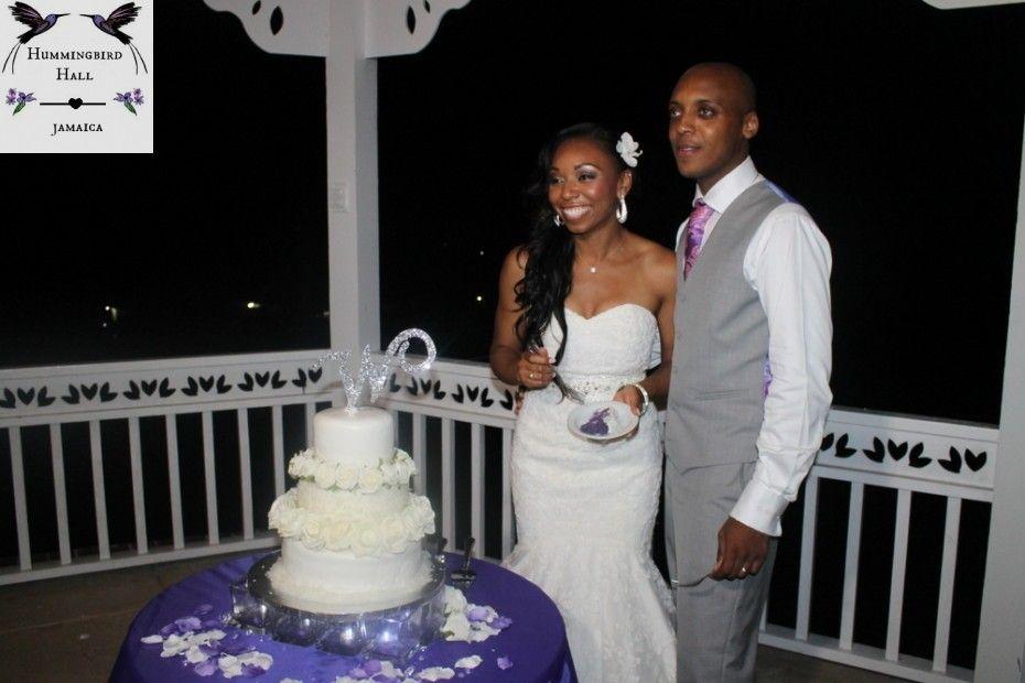 Couple With Purple Wedding Cake And Purple Filling At Montego Bay Jamaica Destination Wedding V Jamaican Wedding Purple Wedding Cakes Traditional Wedding Cakes