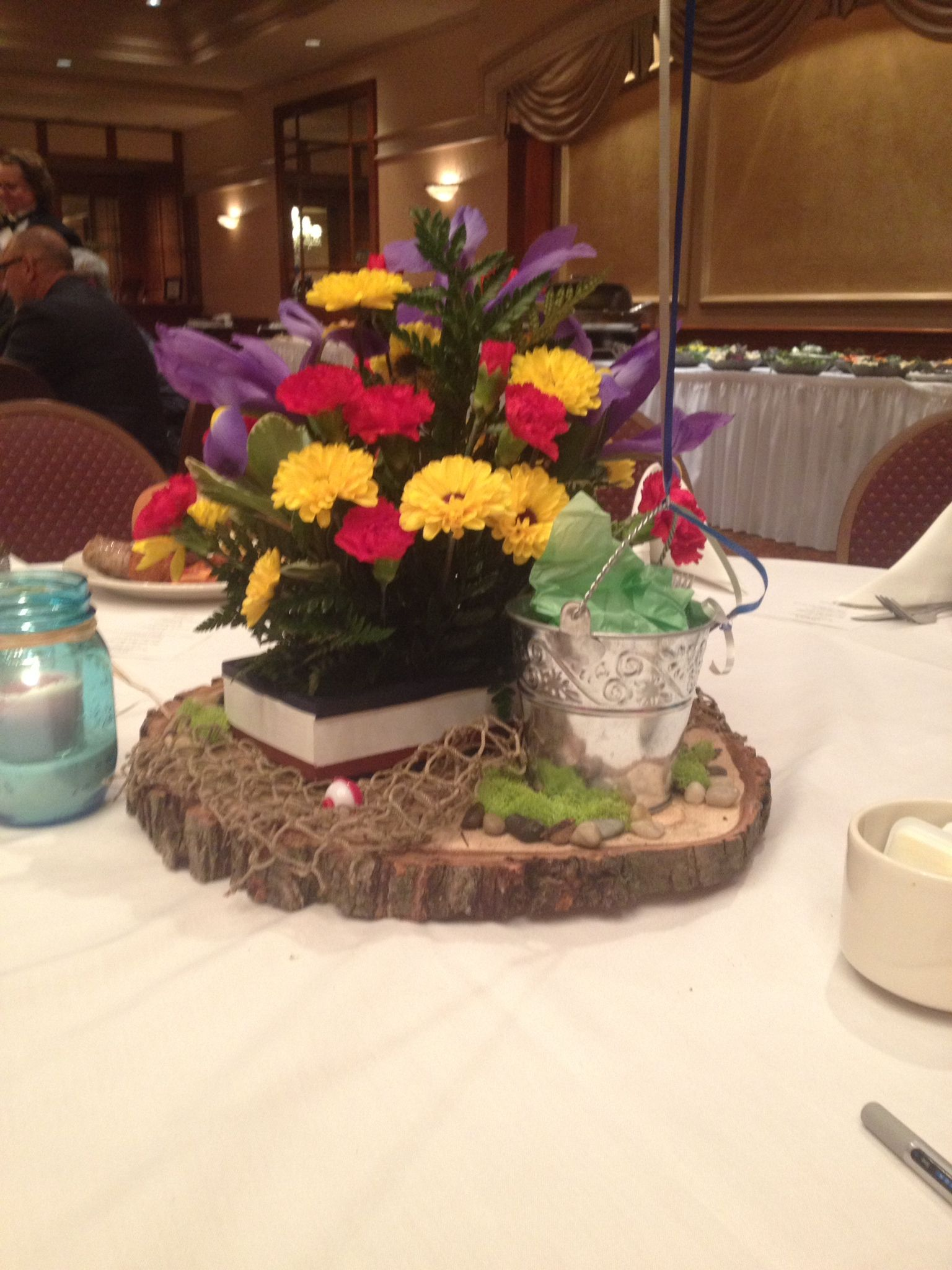 Centerpiece for fishing theme retirement party