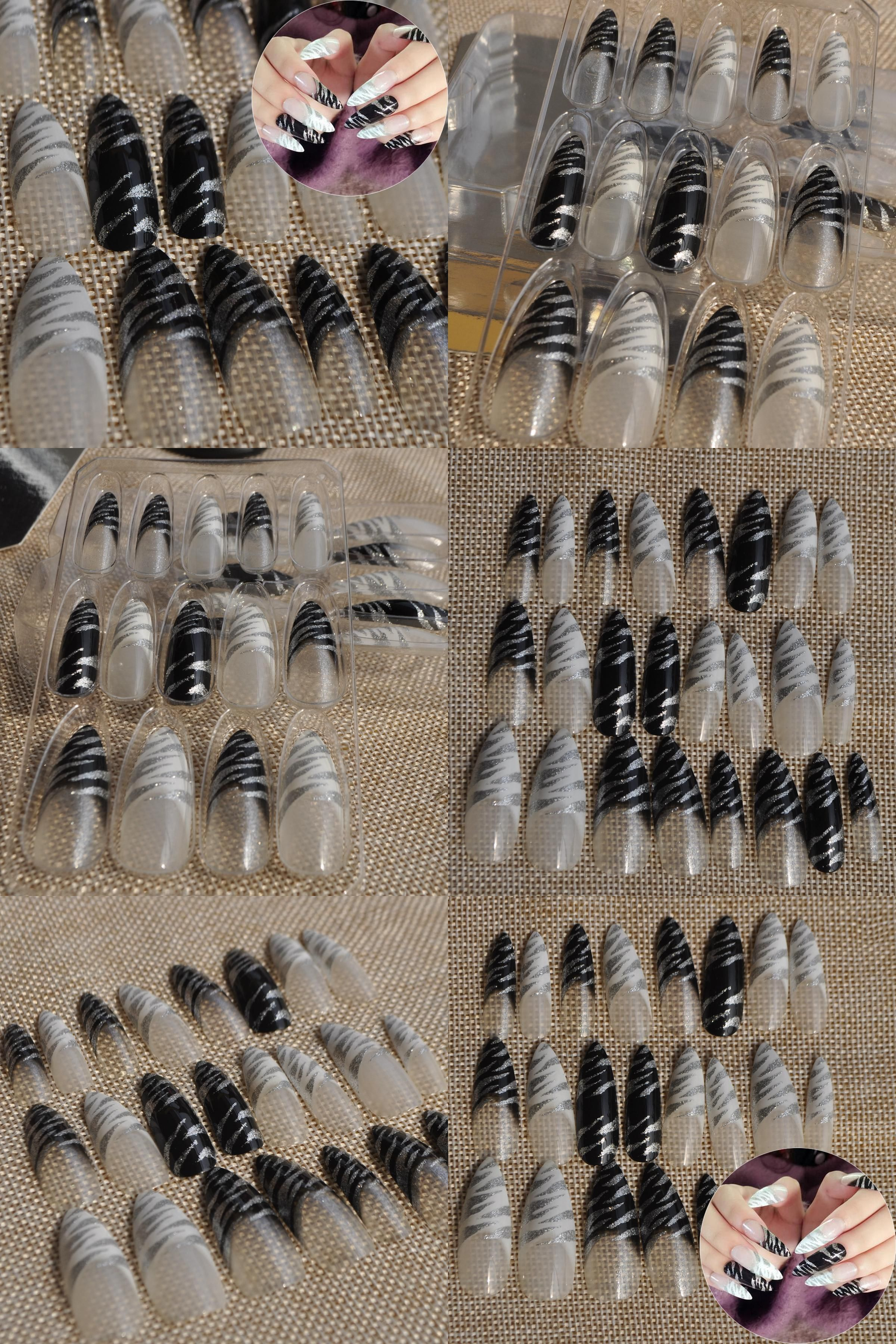 Visit to Buy] Clear Pointed French Nails Extra Long Nail Tips Press ...