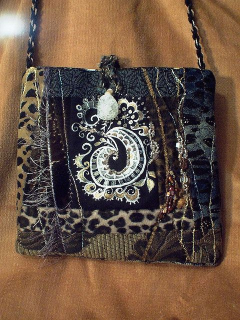 c80e6ee7af purse with quartz bead. By Molly Jean Hobbit 9x9 inches. Stamped with my  hand
