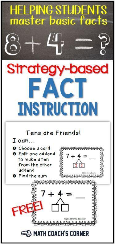 Strategy Based Fact Instruction School Stuff Pinterest Math
