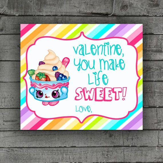 Shopkins Valentines Card School Party by PartyPrintableInvite