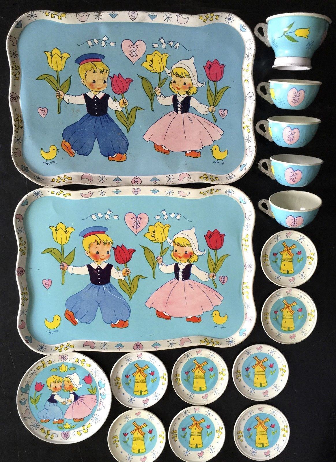 """Vintage 1957 Chein Tin Litho Toy Tea Set """"Dutch Boy Girl"""