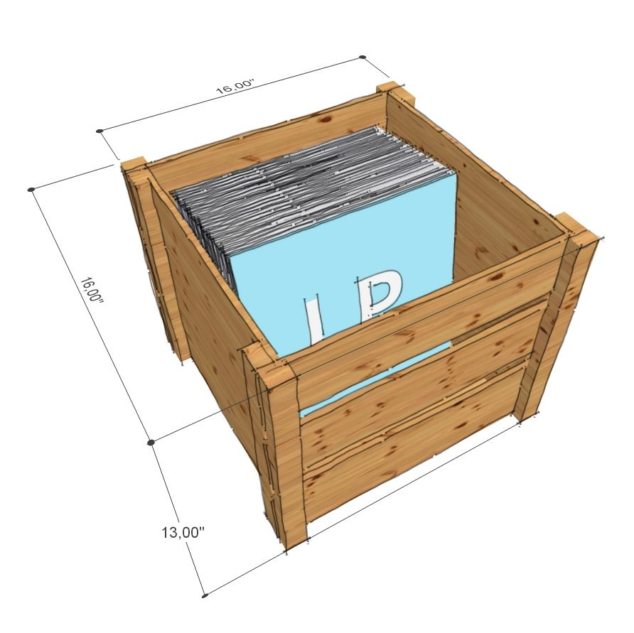 Merveilleux LP Record Storage Crate   Drawing With Dimensions, Opened.