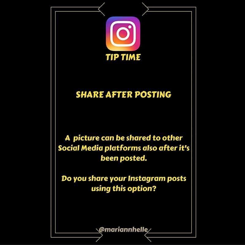 """Tip time: Did you know that you can share an Instagram post also after you have posted it...  - Open the post you want to share - Click the three little dots on your top righthand screen - Choose """"Share"""" - Pick the social media of choice - Tap """"Done"""" or  in top right corner  Do you use this option?  Want to learn more about building your business online   JOIN the Networking Success Tips FB-community  I would love to give you a welcoming post in there!  @mariannhelle  - LINK IN BIO…"""
